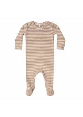 Quincy Mae Quincy Mae Ribbed Footie Walnut Stripe