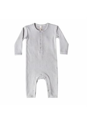 Quincy Mae Quincy Mae Ribbed Baby Jumpsuit Eucalyptus Stripe