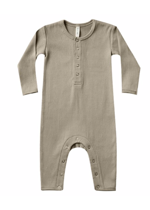 Quincy Mae Quincy Mae Ribbed Baby Jumpsuit Olive