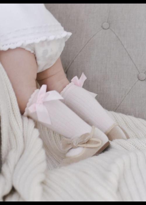 Petit Maison PM Ribbed Knee Socks w/Bows - Pink