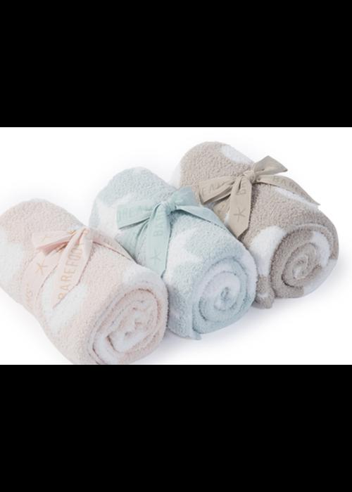 Barefoot Dreams BFD Cozychic Dream Receiving Blanket Aqua/Ice White