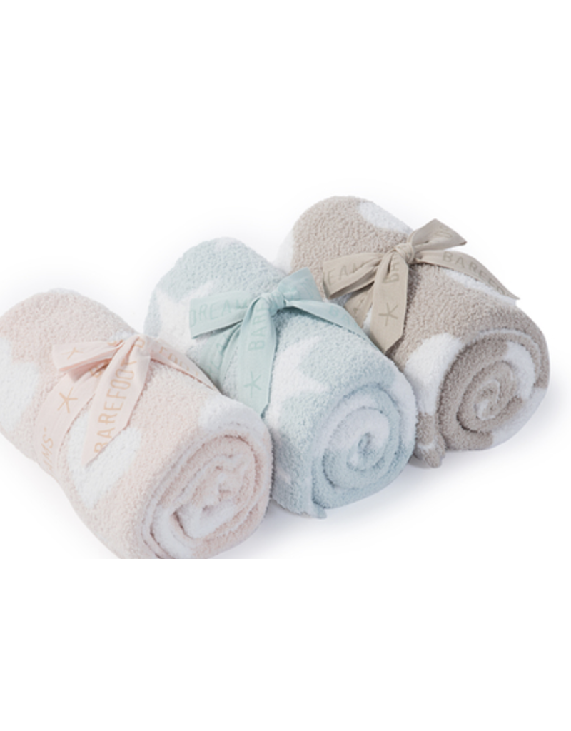 Barefoot Dreams BFD Cozychic Dream Receiving Blanket Aqua/Ice White