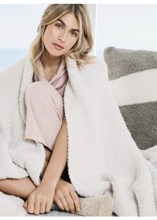 Barefoot Dreams BFD Cozychic Heathered Throw Stone/White