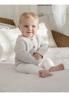 Barefoot Dreams BFD Cozychic Infant Heathered Cardigan - Stone/White