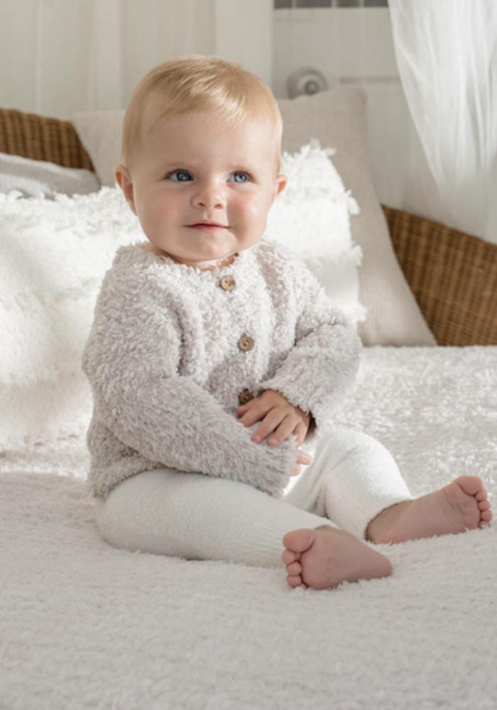 BFD Cozychic Infant Heathered Cardigan - Stone/White