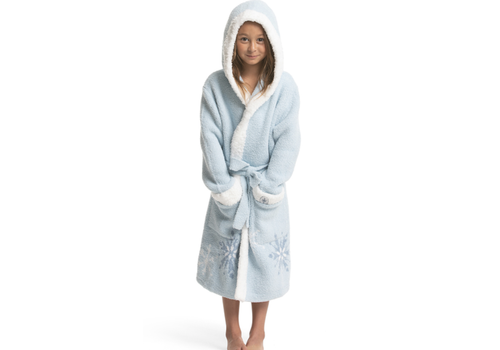 Barefoot Dreams BFD Cozychic Frozen Disney Youth Robe Ice Blue/Multi