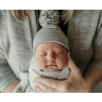 Ilybean Grey White Striped w/Mixed Pom Hat