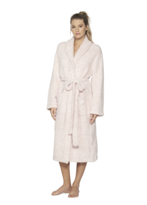 Barefoot Dreams BFD Cozychic Heathered Adult Robe He Dusty Rose/Wht