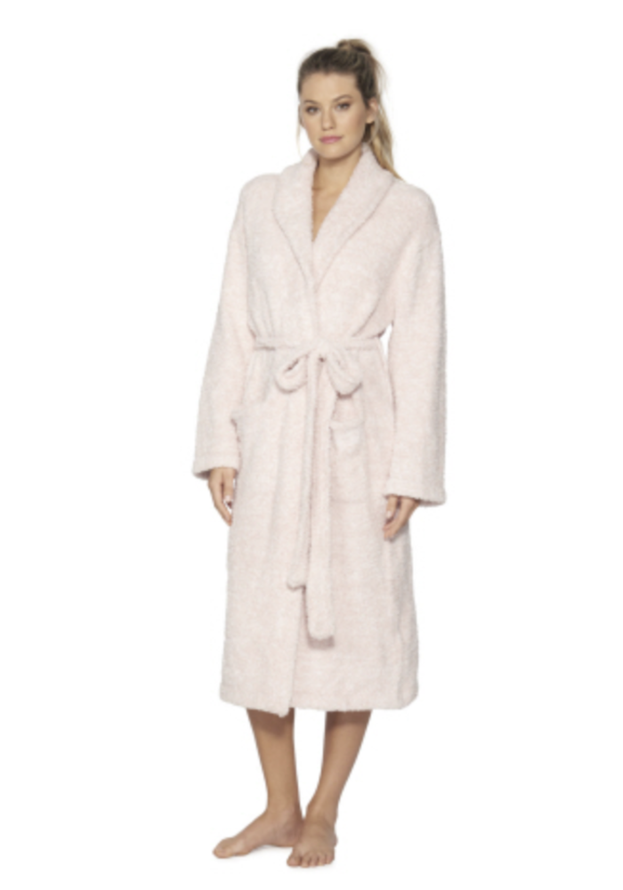 BFD Cozychic Heathered Adult Robe He Dusty Rose/Wht