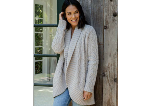 Barefoot Dreams BFD Cozychic Cable Shawl Cardigan