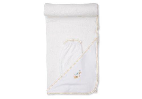 Kissy Kissy KK Dilly Dally Duckies PRT Hooded Towel w/Mitt Set wht/yel
