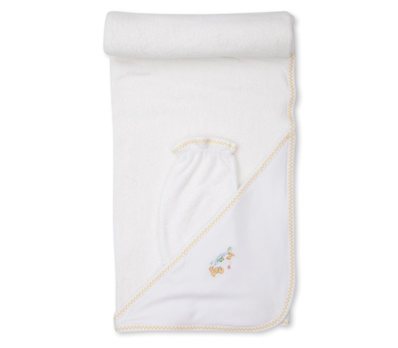KK Dilly Dally Duckies PRT Hooded Towel w/Mitt Set wht/yel