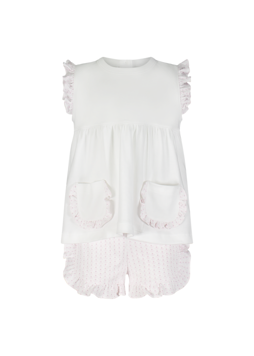 Lila and Hayes LH Gentry Set Slvless Wht Top & Bloomer Set - Crescent Baby Pink