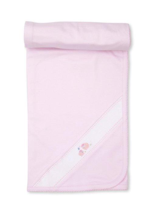 Kissy Kissy KK Blanket w/Hand Emb Premier Lazy Lambs Lt  Pink