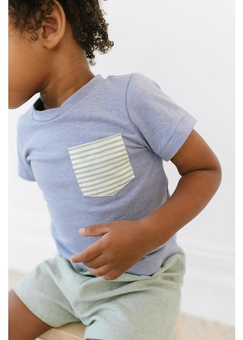 Thimble Collection Periwinkle Pocket Tee and Short Set