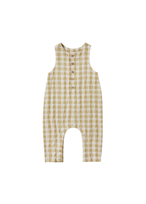 Rylee & Cru R+C Gingham sleeveless jumpsuit in Butter