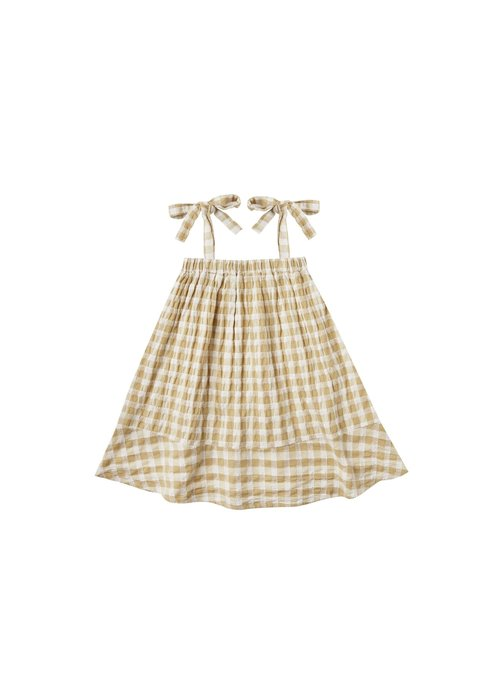 Rylee & Cru R+C Gingham Shoulder Tie Dress in Butter