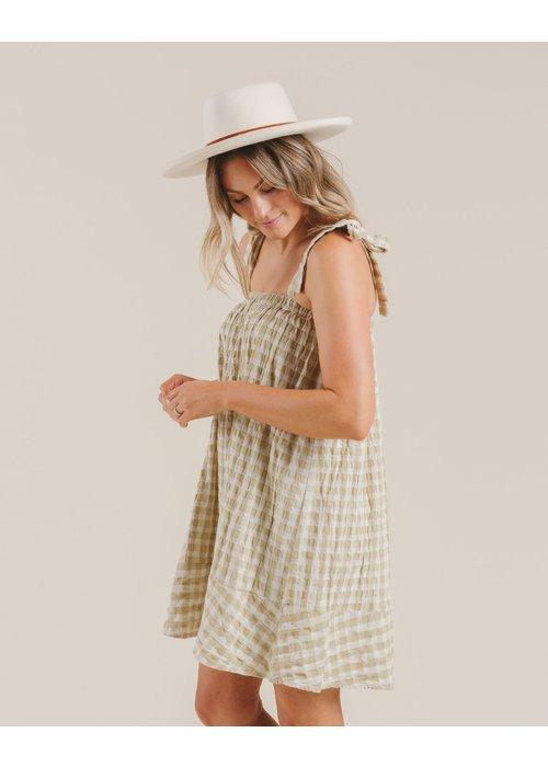 Rylee & Cru R+C Womens' Gingham Shoulder Tie Dress in Butter
