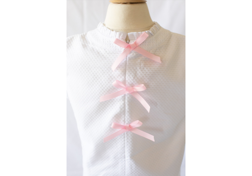 Peggy Green PG Sleeveless Tucker Top - White Pique w/Pink Bows