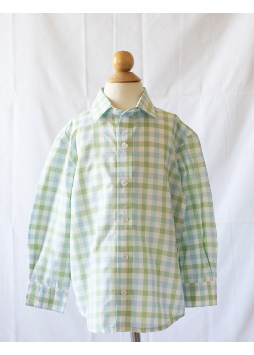 Peggy Green PG Boys Button Down Shirt in Chapel Hill Check