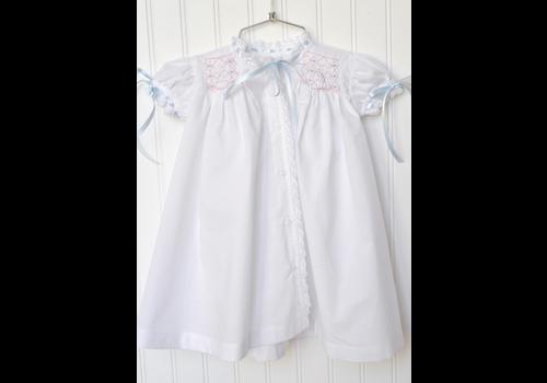Peggy Green PG Heirloom Smocked Gown - White Batiste w/Blue & Pk Smk