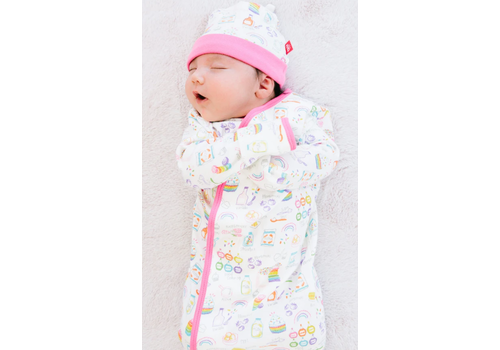 Magnetic Baby MAG Rainbow Sprinkles Organic Cotton Magnetic Gown & Hat Set