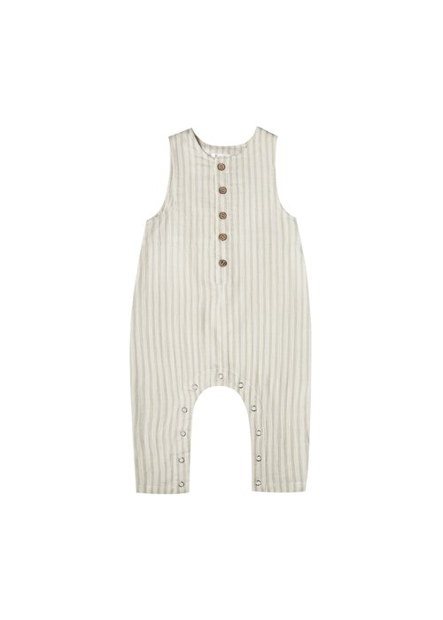 Rylee & Cru R+C Stripes Button Jumpsuit in Sage/Ivory