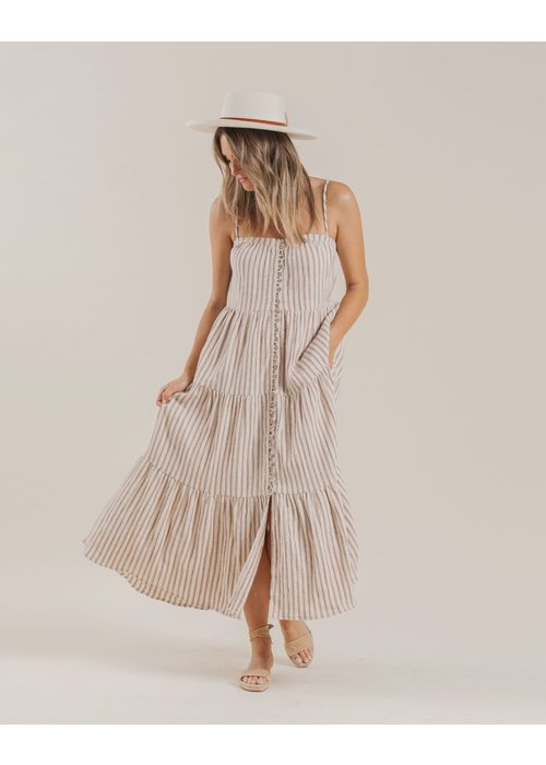Rylee & Cru R+C Womens Striped Tiered Maxi Dress in Amber