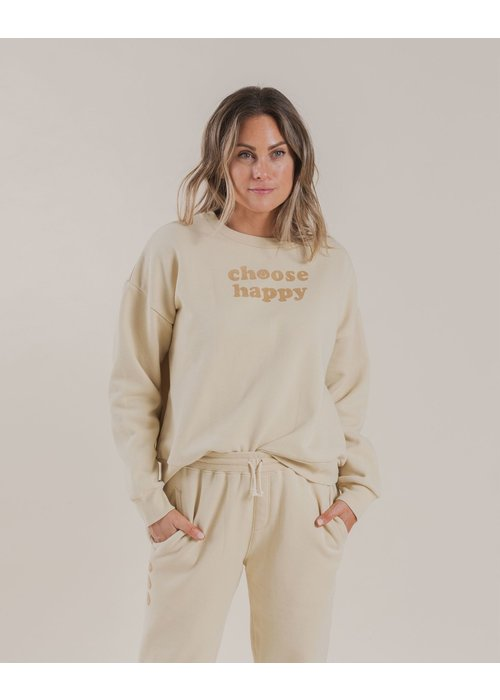 Rylee & Cru R+C Womens Choose Happy Crew Sweatshirt in Butter