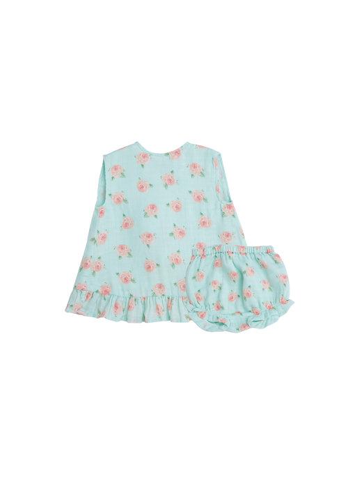 Angel Dear AD Petite Rose Muslin Ruffle Top & Bloomer Blue
