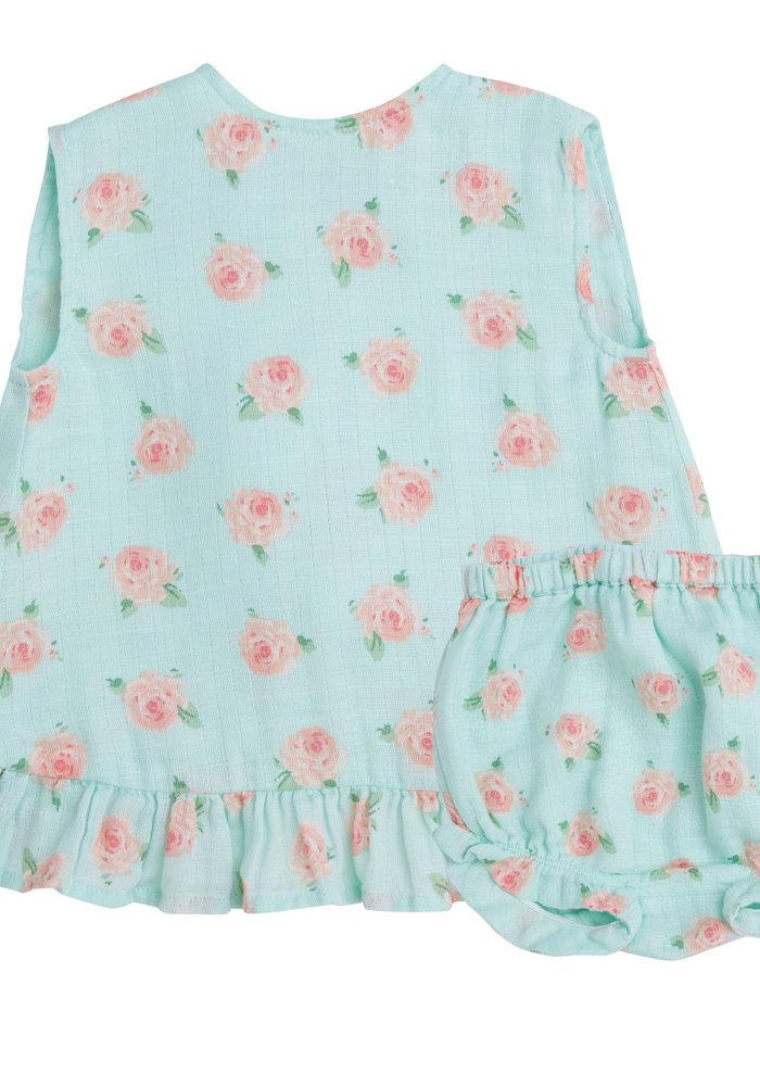 AD Petite Rose Muslin Ruffle Top & Bloomer Blue
