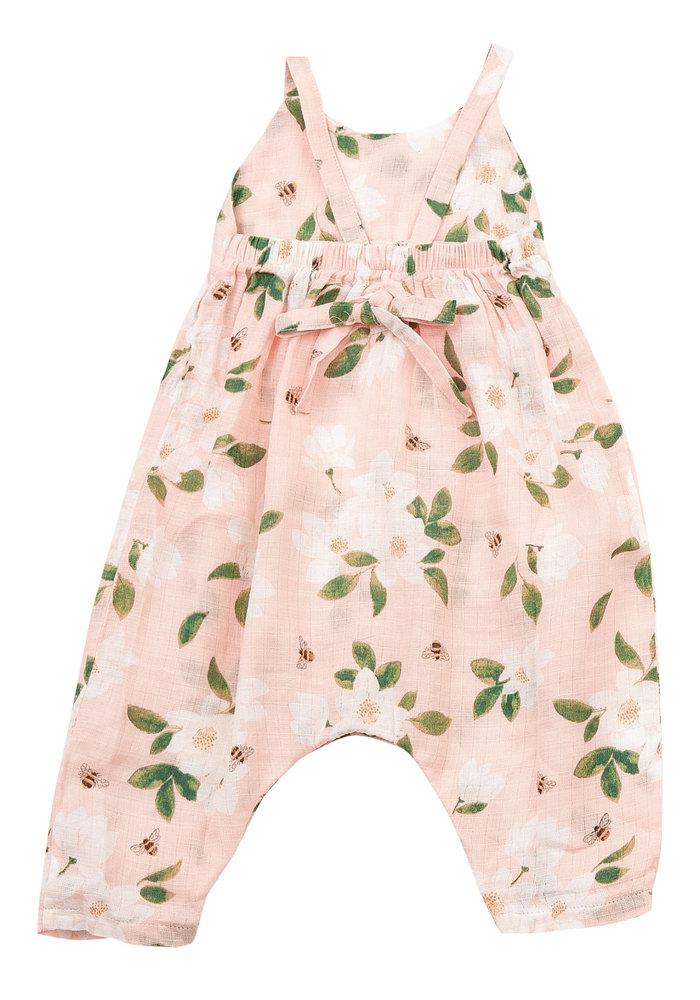 AD Magnolia Muslin Tie Back Romper Pink