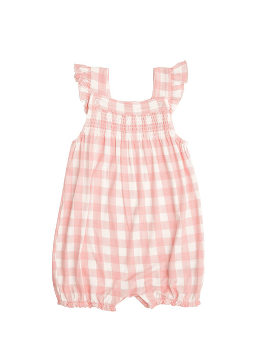 Angel Dear AD Gingham Smocked Front Overall Shortie in Pink