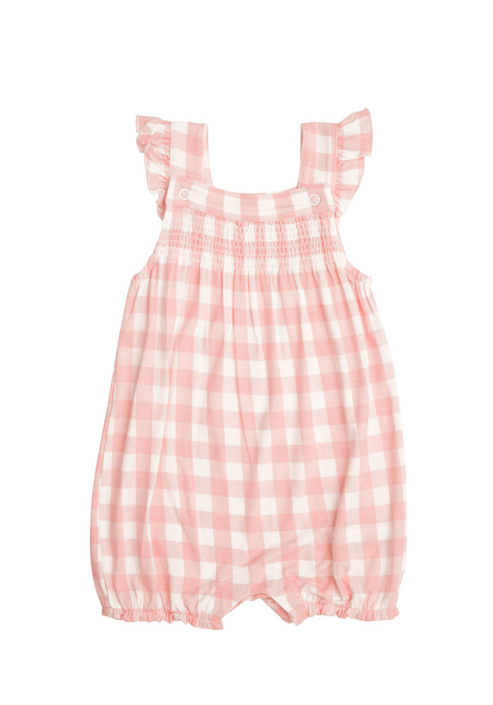 AD Gingham Smocked Front Overall Shortie in Pink