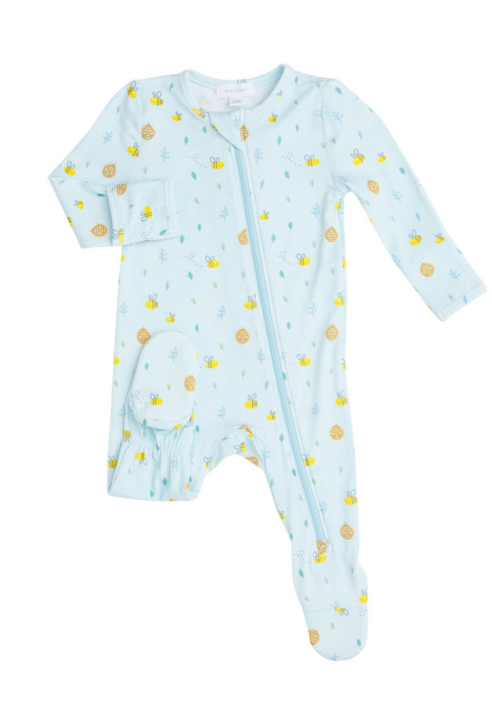 AD Little Bee Zipper Footie in Blue