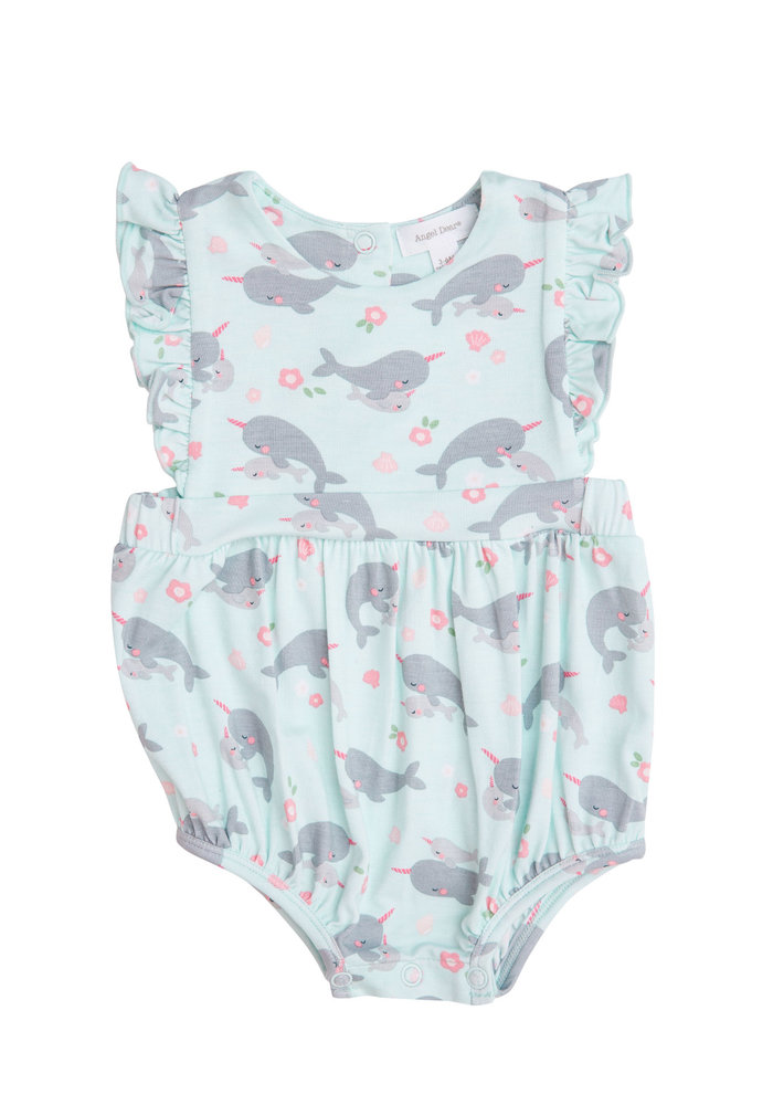 AD Narwhals Ruffle Sunsuit in Blue