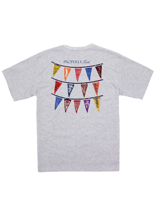 Properly Tied PT Classic Pennant S/S Tee in Lt Heather Grey