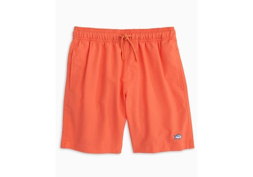 Southern Tide ST Boys Youth Solid Swim Trunk in Nautical Orange