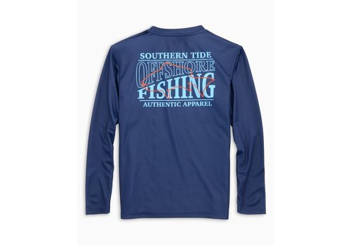 Southern Tide ST Boys Youth L/S Offshore Perf Fishing Tee in Blue Night