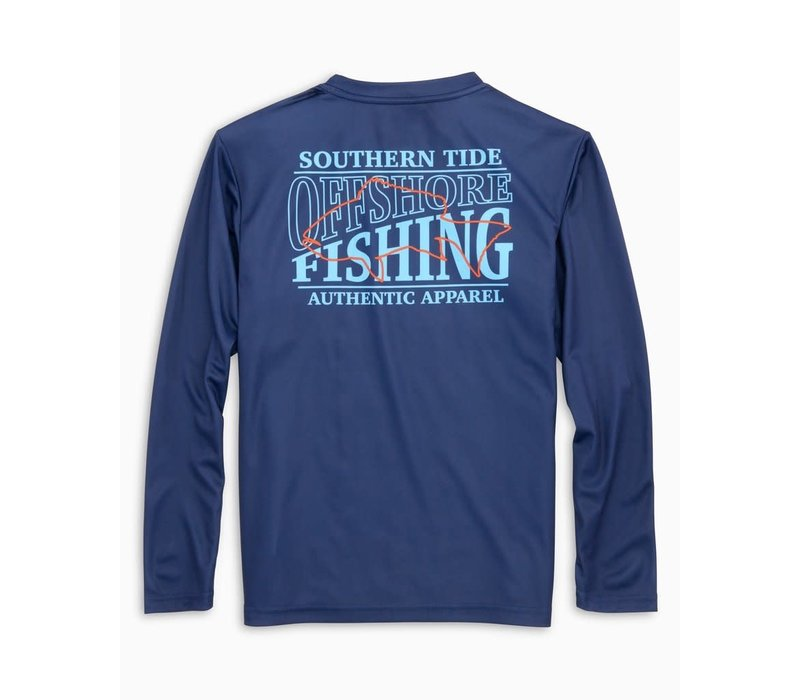 ST Boys Youth L/S Offshore Perf Fishing Tee in Blue Night