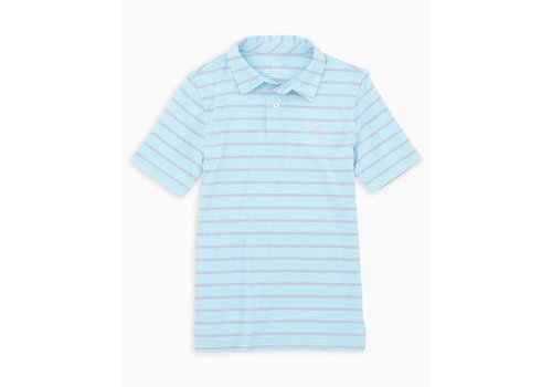 Southern Tide ST Boys Youth SS Driver Stripe Perf Polo in Rain Water