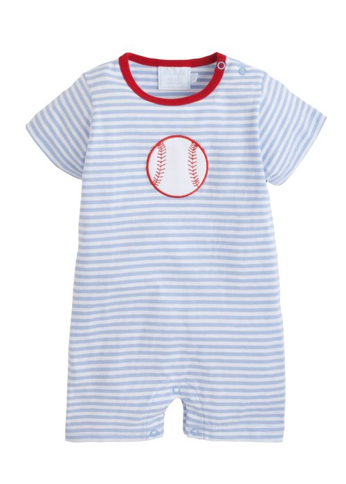 Little English LE Applique Romper Baseball Lt. Blue Str