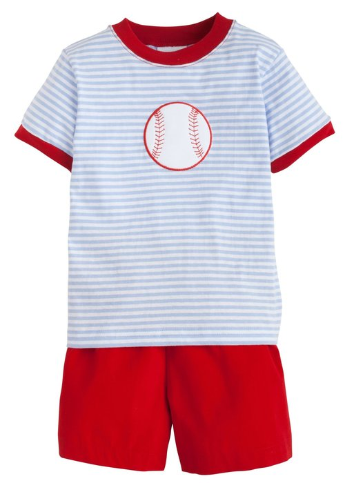 Little English LE Applique Short Set Baseball in Lt Blue/Red