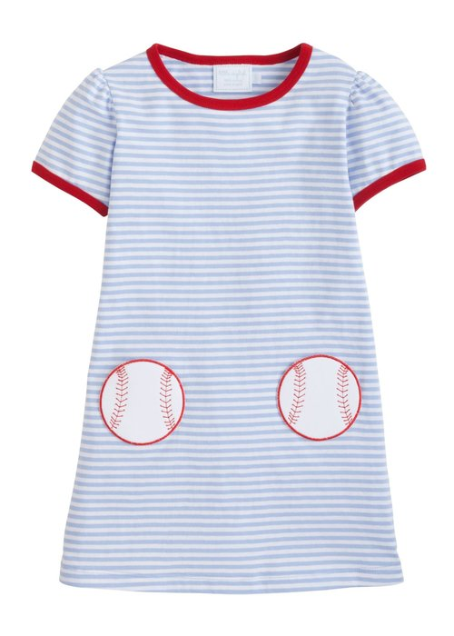 Little English LE Applique T-shirt Dress - Baseball Lt Blue Str