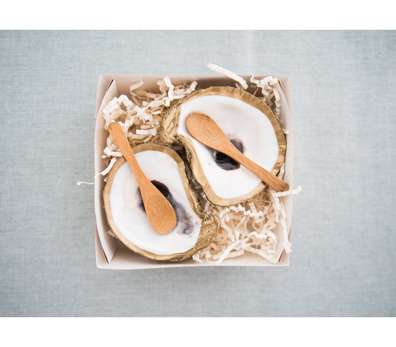 GG Gilded Shell Salt and Pepper Cellars Oyster - Clam Set