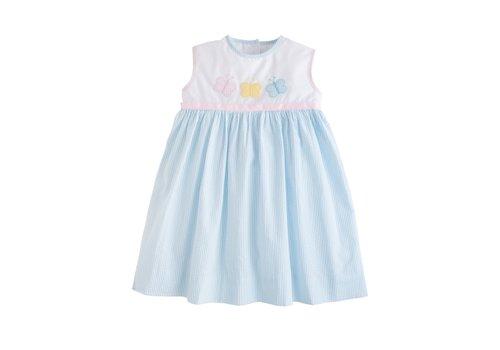 Little English LE Marisa Dress - Butterfly blue seersucker