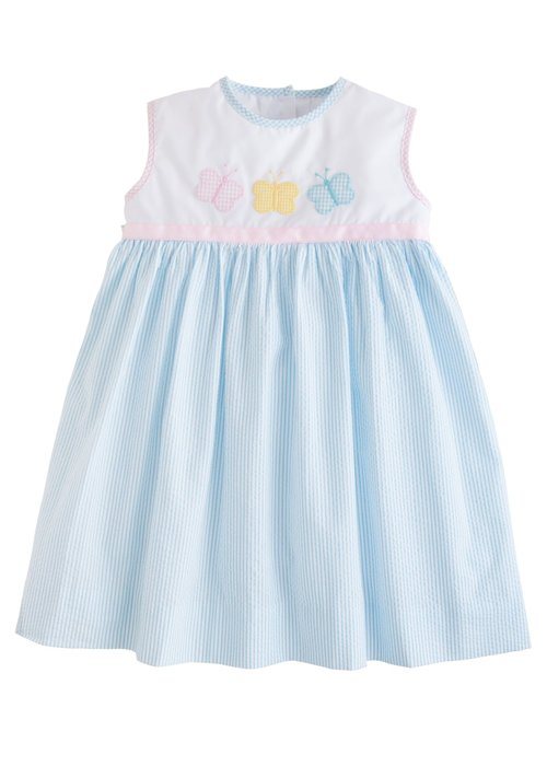 Little English LE Marisa Dress - Butterfly blue seersucker