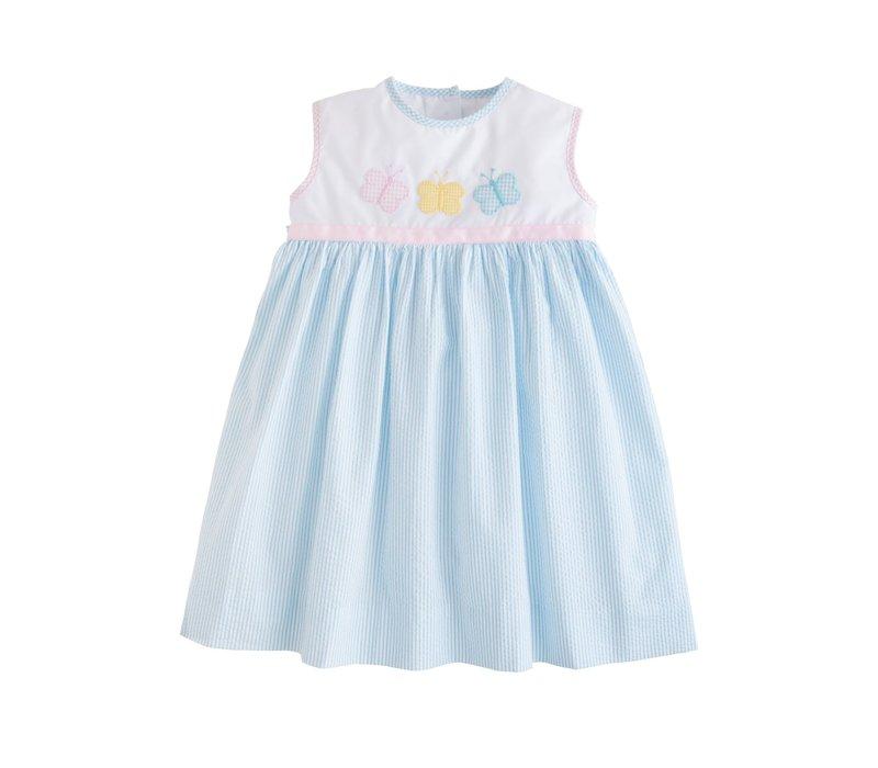 LE Marisa Dress - Butterfly blue seersucker