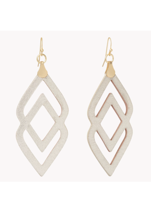Spartina Leather Earrings - Deco Drama Gold