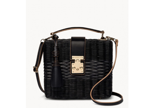 Spartina Rattan Box Bag Black